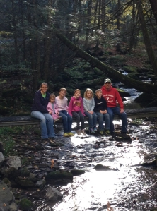 Brooks family on bridge over Brooks Run