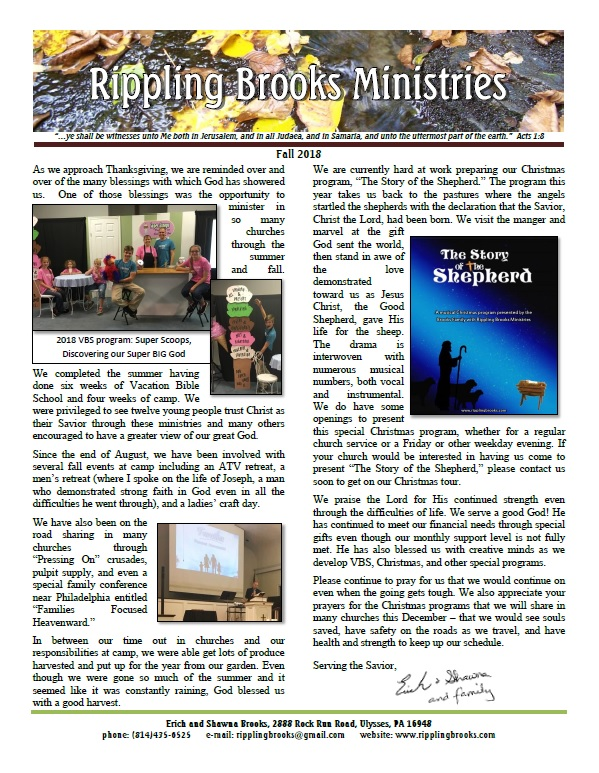 Fall 2018 newsletter picture