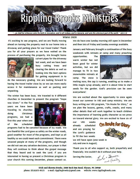 Winter newsletter 2020 as picture